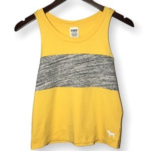 PINK Victoria's Secret Yellow and Gray Tank